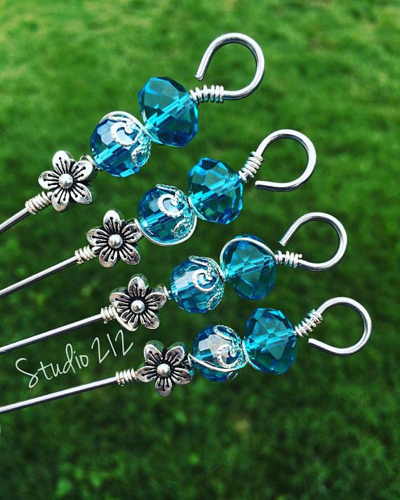Aquamarine glass bead silver floral Food picks Appetizer | Craft ...