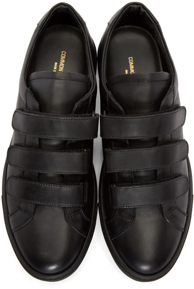 Common Projects - Black Achilles Three Strap Sneakers