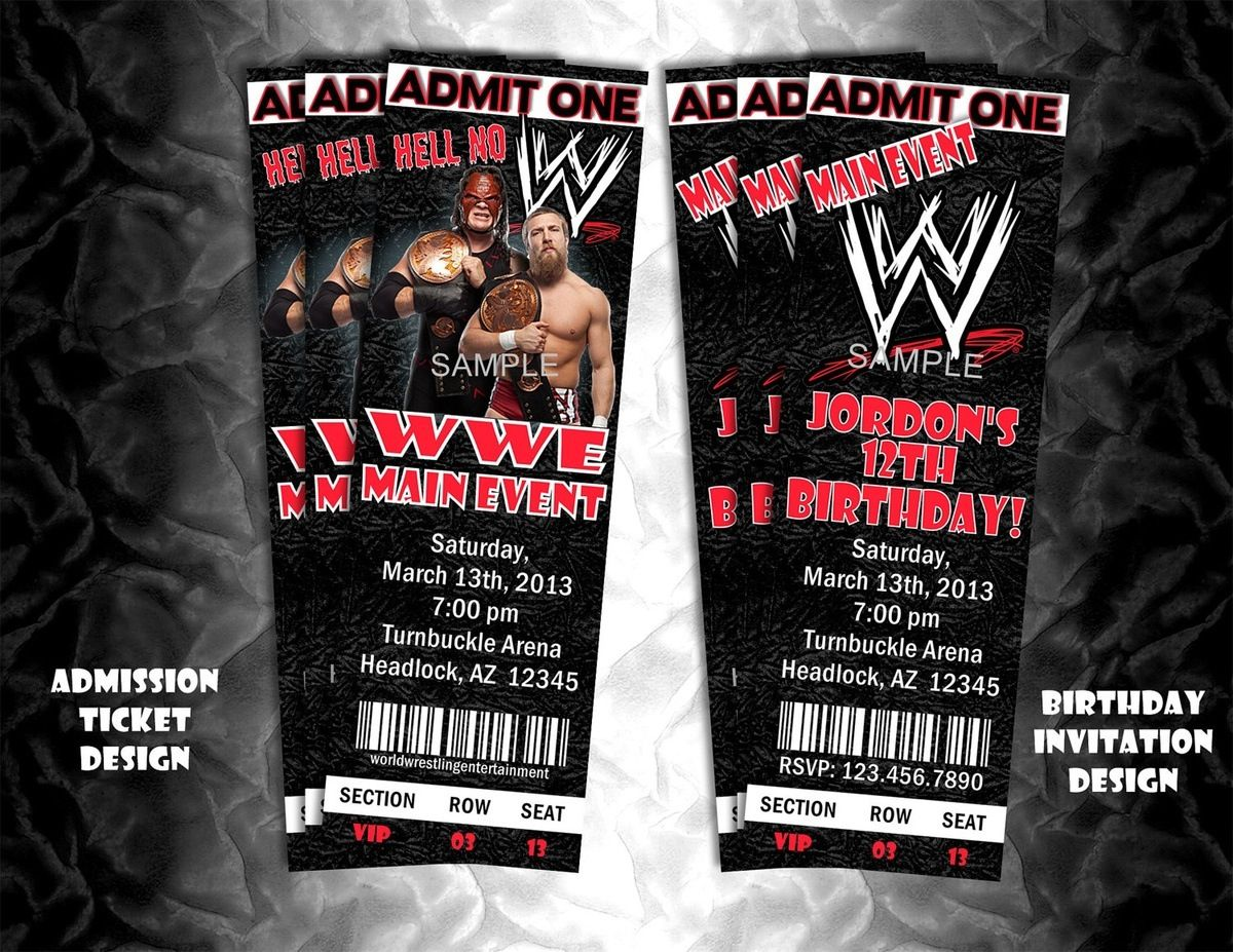 Invitation wwe party pinterest wwe party printable wrestling party invitation ticket style invite or event ticket filmwisefo