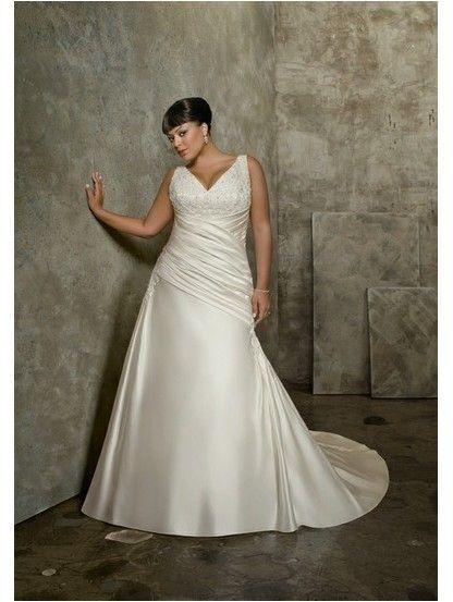Mermaid V-Neck Dropped Waist Pleated Long Satin Ivory Plus Size Wedding Dresses