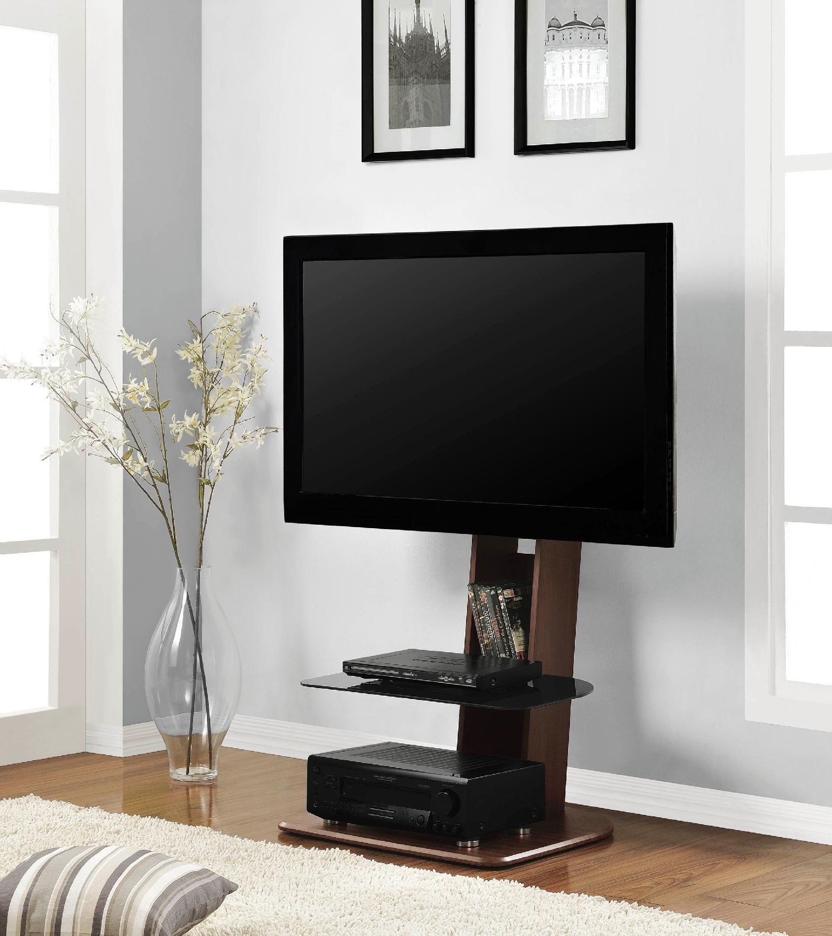 Dorel Home Furnishings Walnut Galaxy Tv Stand With Mount Brown