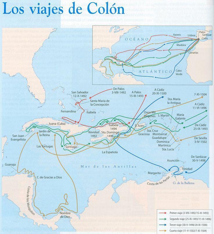 1492 A 1502 Los Viajes De Colon Conquista De America Viajes De Colon Conquista De America Historia De America