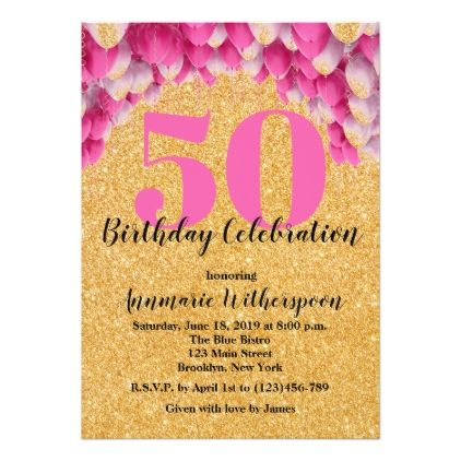 Glitter Lights 50th Birthday Invitation Balloons