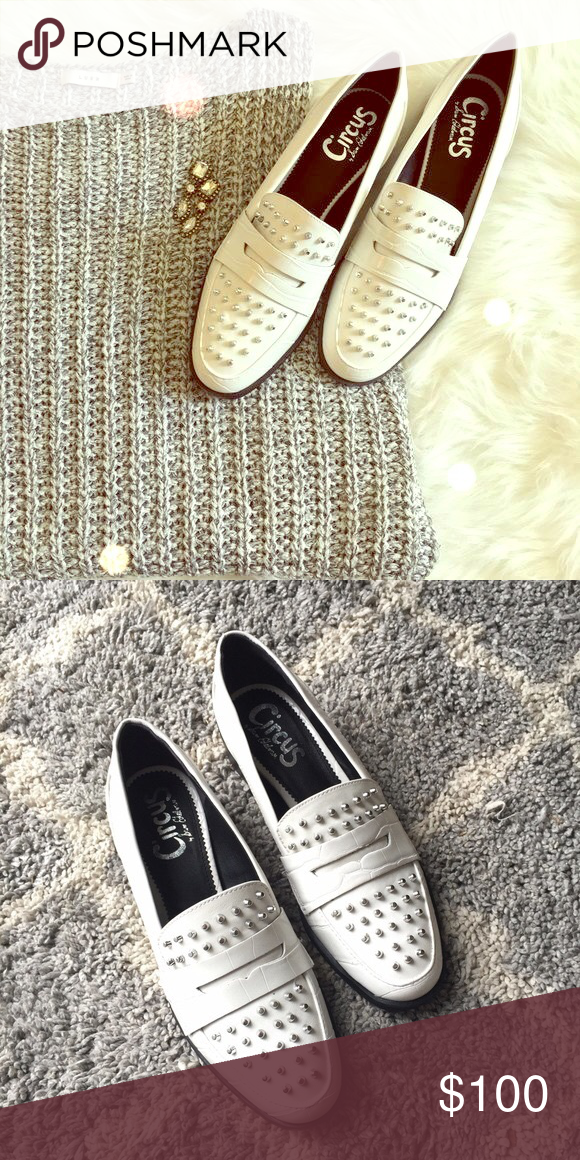 2627caa2ec5421 NEW Sam Edelman Lali studded loafers 10 Circus ❤ NEW Sam Edelman Lali white  studded loafers
