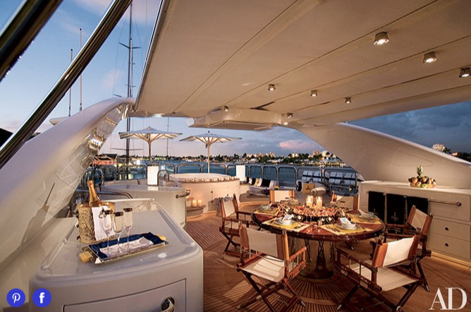 The sundeck of the 155foot motor yacht is a
