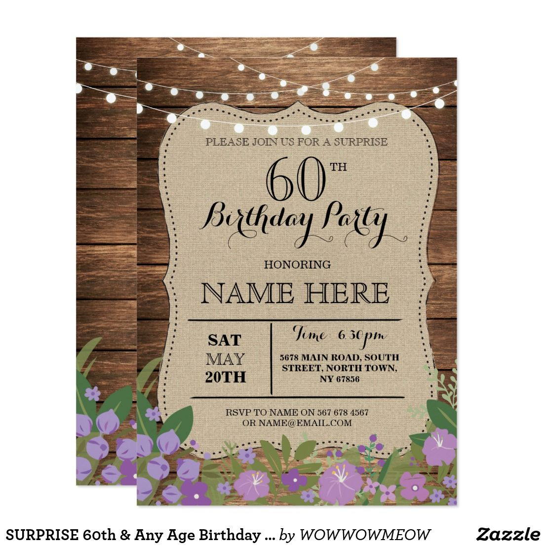 SURPRISE 60th & Any Age Birthday Party Wood Invite | Invites ...