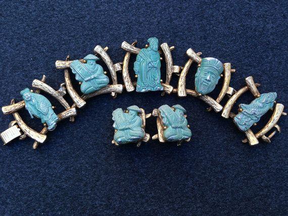 Vintage Green Asian Man Five Link Bracelet by AlicenEstherVintage