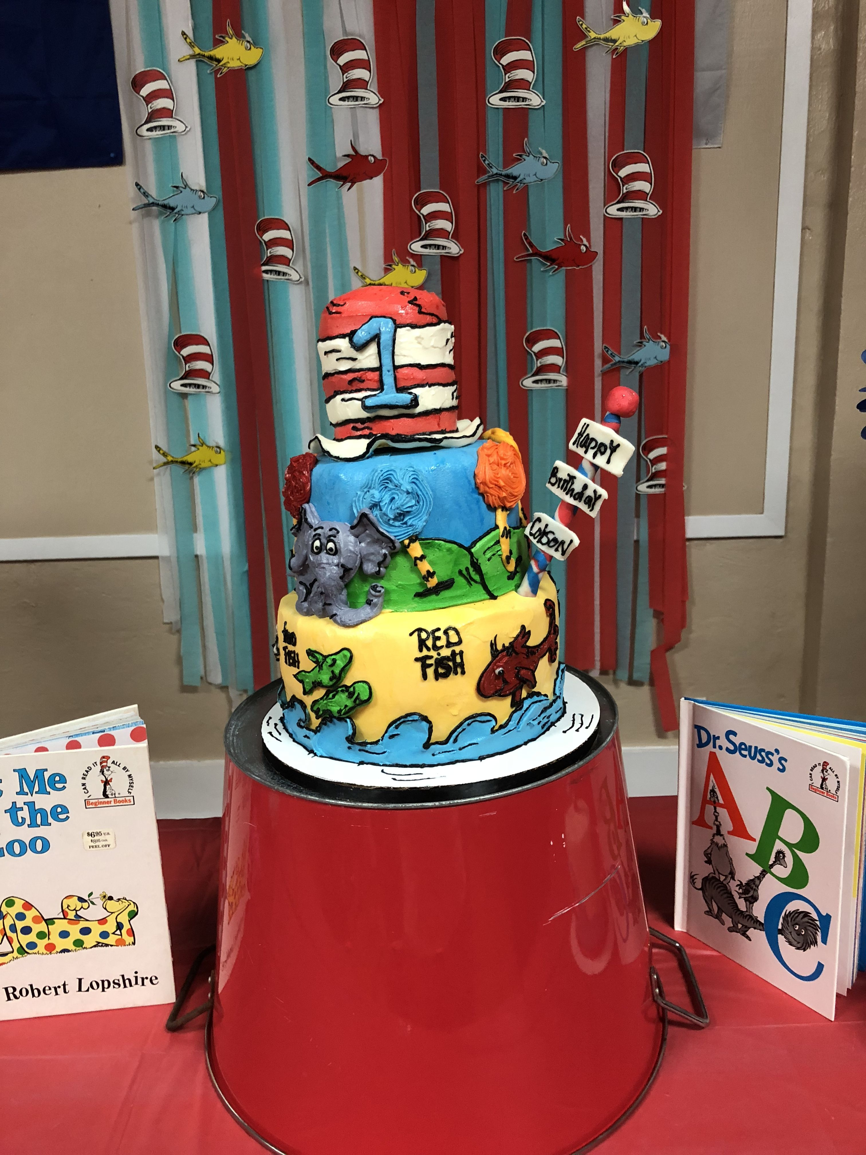Superb Dr Seuss 1St Birthday Cake Colsons First Birthday First Funny Birthday Cards Online Aeocydamsfinfo