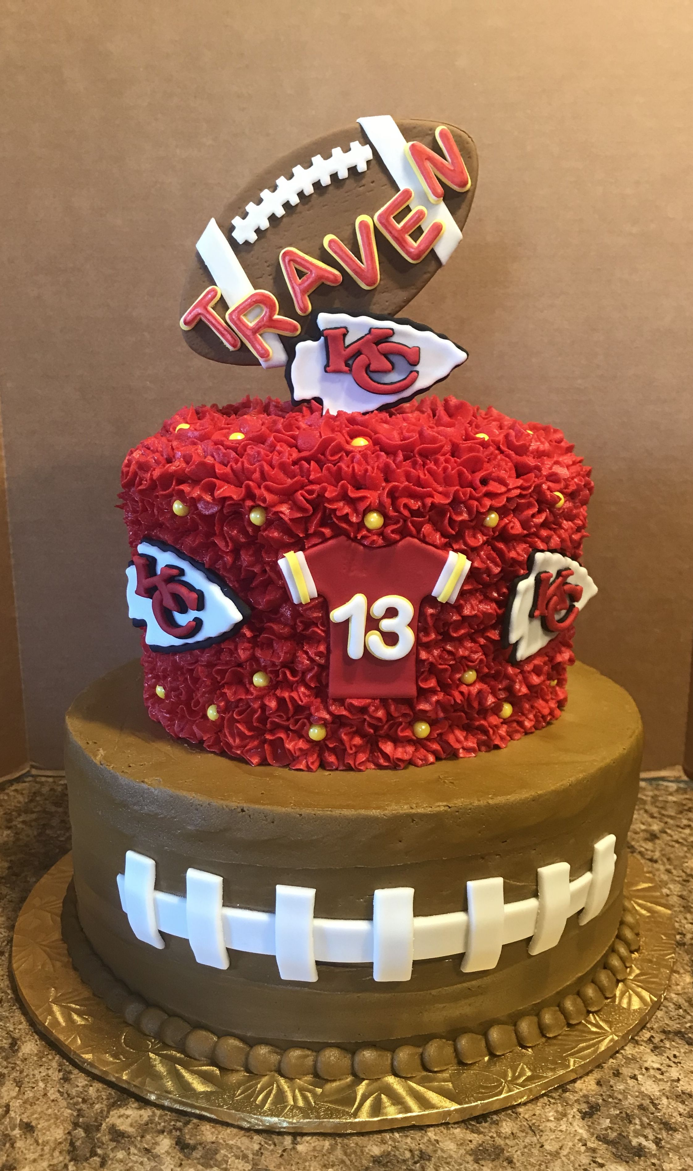 Stupendous Kc Chiefs Birthday Cake With Images Pretty Birthday Cakes Funny Birthday Cards Online Overcheapnameinfo