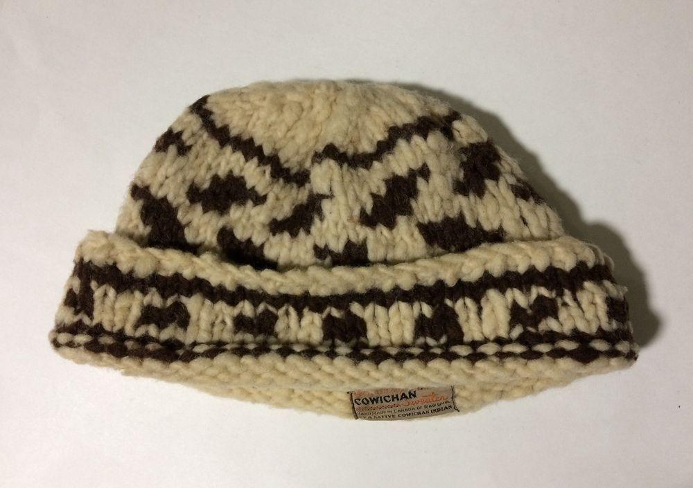 b1172328c16 Cowichan XXL Native Indian Raw Wool Vintage Adult Knit Cap Hat  Cowichan   wool  hat  cap  native  vintage