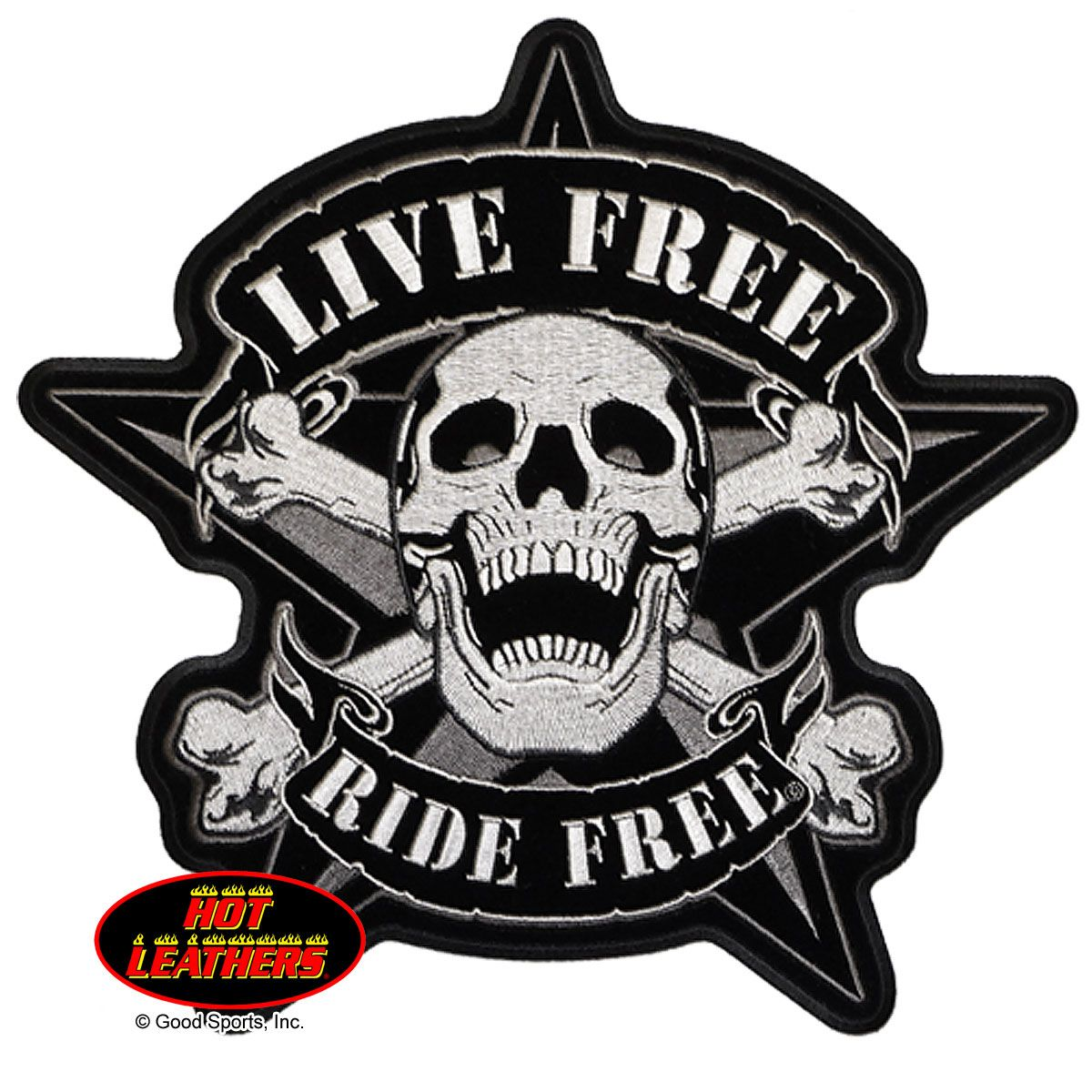 Hot Leathers Live Free Skull Biker Patch Motorcycle