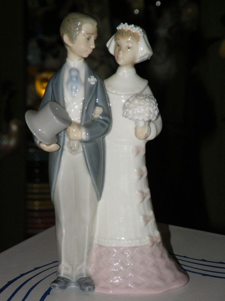 Beautiful Estate Lladro BRIDE GROOM WEDDING CAKE TOPPER 4808 Retired