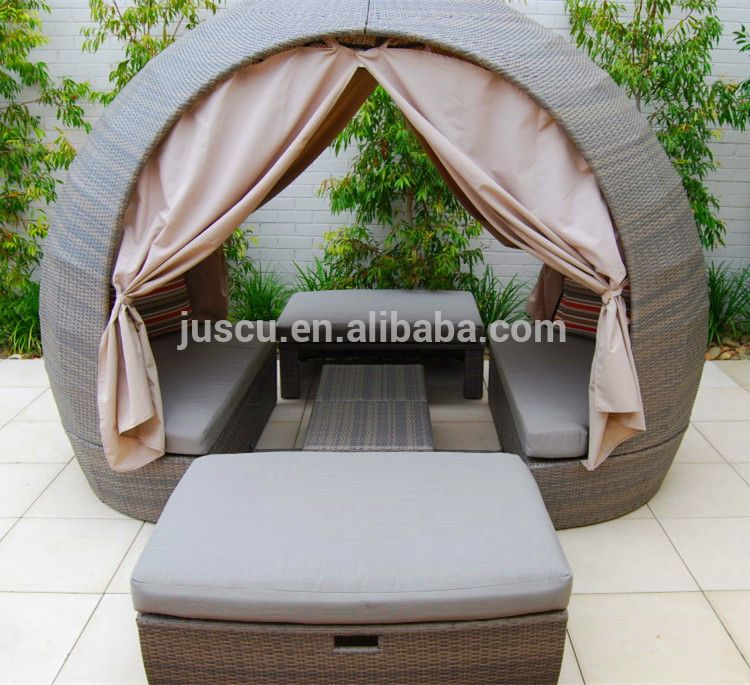 Rattan Round Outdoor Lounge Bed Outdoor Furniture Daybed Round ...