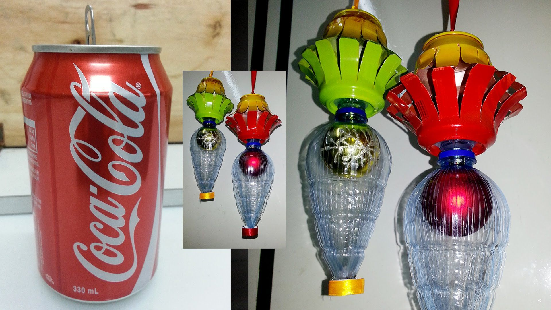 How to make christmas lantern using soda can other for Things to make with recycled materials
