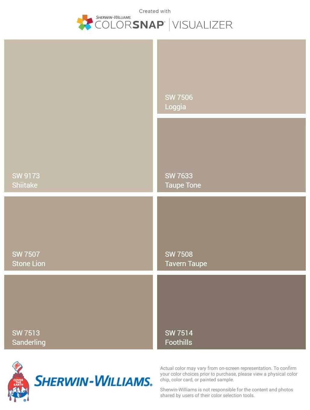 Sherwin Williams Beige To Brown Paitn Colors Scheme Shiitake