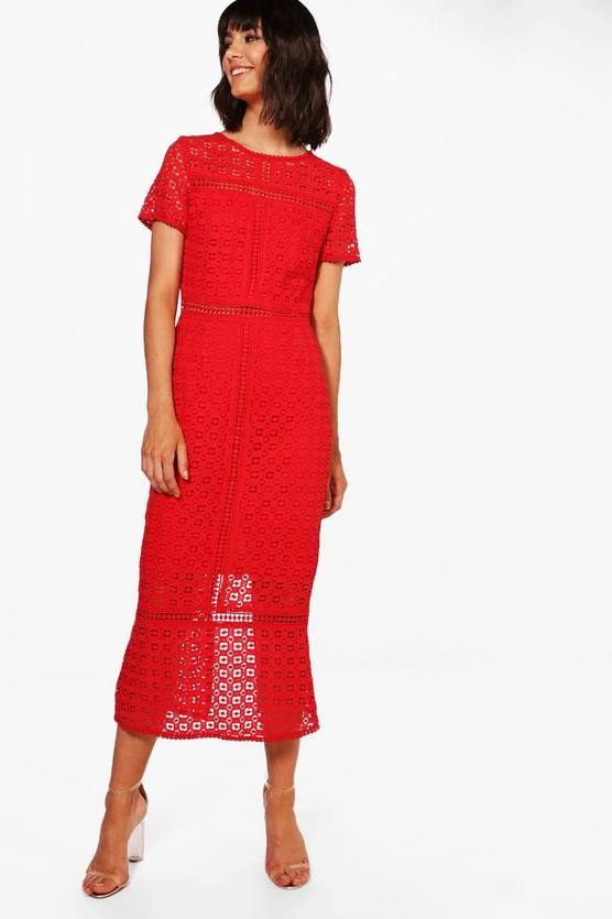 Boutique Crochet Midi Dress Boohoo Crochet Midi Dress Red Midi Dress Dresses