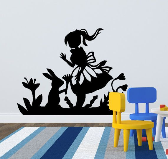 Alice In Wonderland Wall Decal   Alice And The Rabbit Decal Perfect For Any  Playroom Or