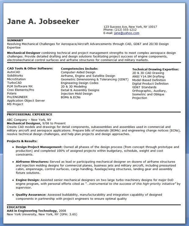 Mechanical Designer Resume Templates (Experienced) Creative - mechanical engineering resume template