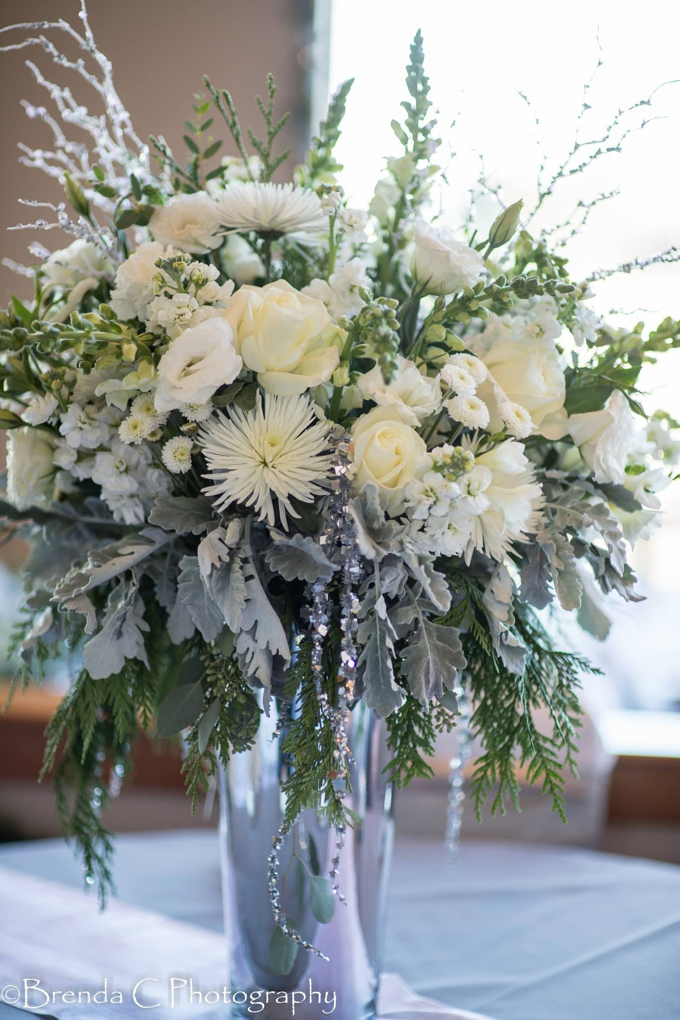 White Flower Arrangement For A Winter Wedding Weddingflowers