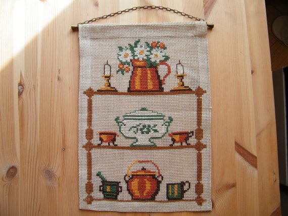 Vintage Swedish Wall Hanging  Crosstich on Burlap  by linenblossom, $12.00