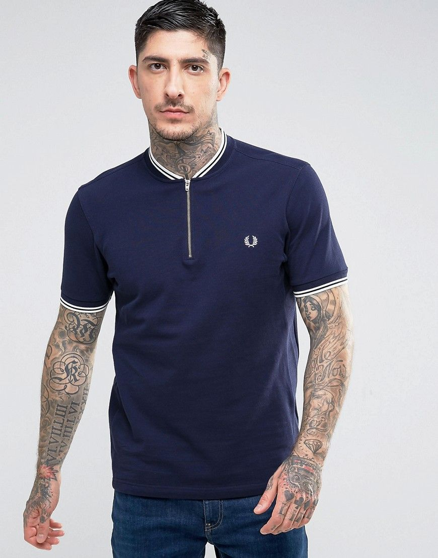 12280166 Fred Perry Slim Fit Polo With Bomber Neck & Zip In Navy - Navy ...
