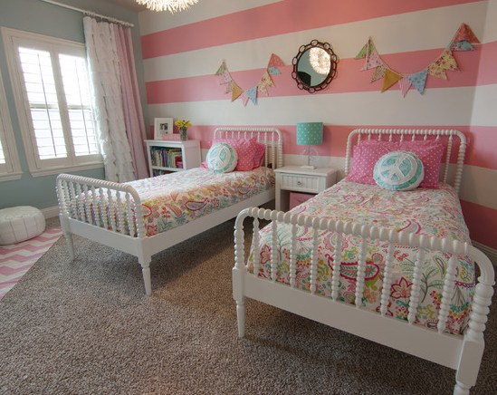 Little Girls Room Spindle Beds Accent Wall Striped Walls Flags Shared Girls Room Girls Room Design Girl Bedroom Designs