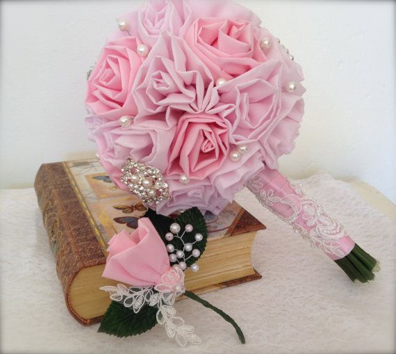 Fabric Flower with Faux Pearls and Applique Boutonniere-Handmade-Wedding-Prom