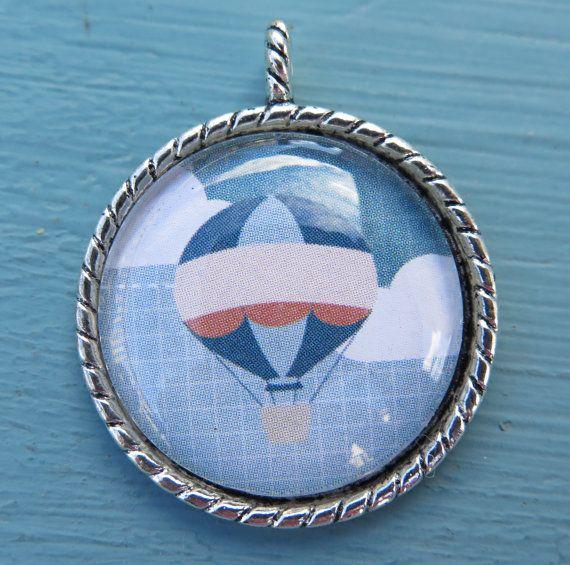1PC  Hot Air Balloon  Round Silver Pendant  30mm  by ZARDENIA