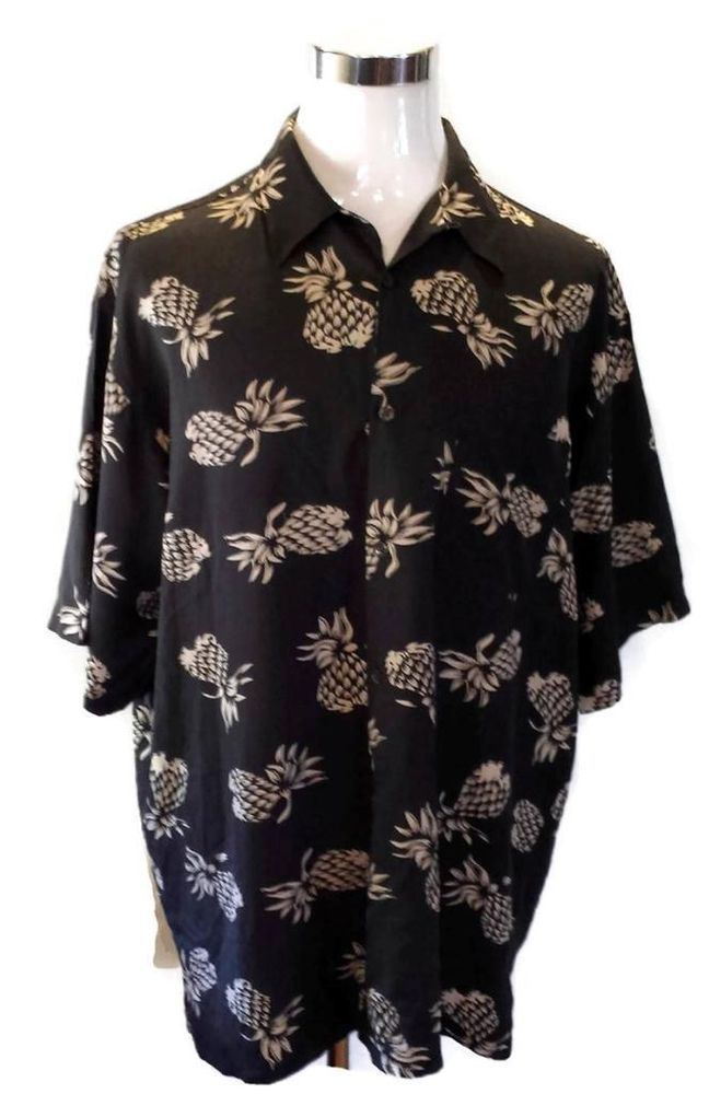 VINTAGE SILK Hawaiian Shirt Pineapples 100% Silk Mens Size XXL 2X #VintageSilk #Hawaiian