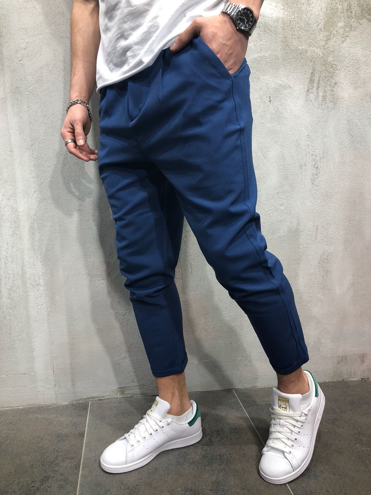 d5982bb0df9f Premium ankle pants for your next outfit! Available in 6 Colors Black Dark  gray Blue Cream Light gray White Looks great with a casual T-shirt and  sneakers ...