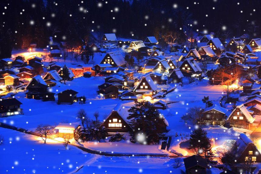 幻想的な合掌造りの雪景色と灯り 世界遺産飛騨白川郷 飛騨高山の冬 Tavip タビップ るるぶトラベル で宿泊予約 美しい風景 美しい風景写真 トラベル