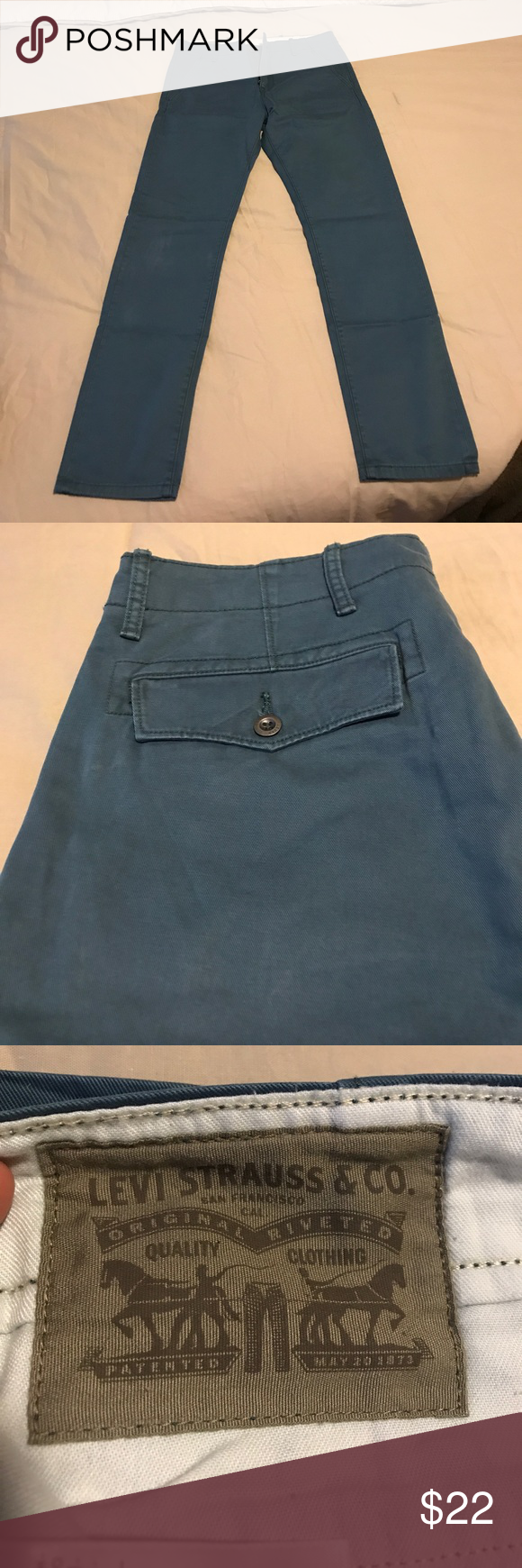 Levi's 513 chinos 33 22 blue Got last year but don't fit. Worn few times Levi's Pants Chinos & Khakis