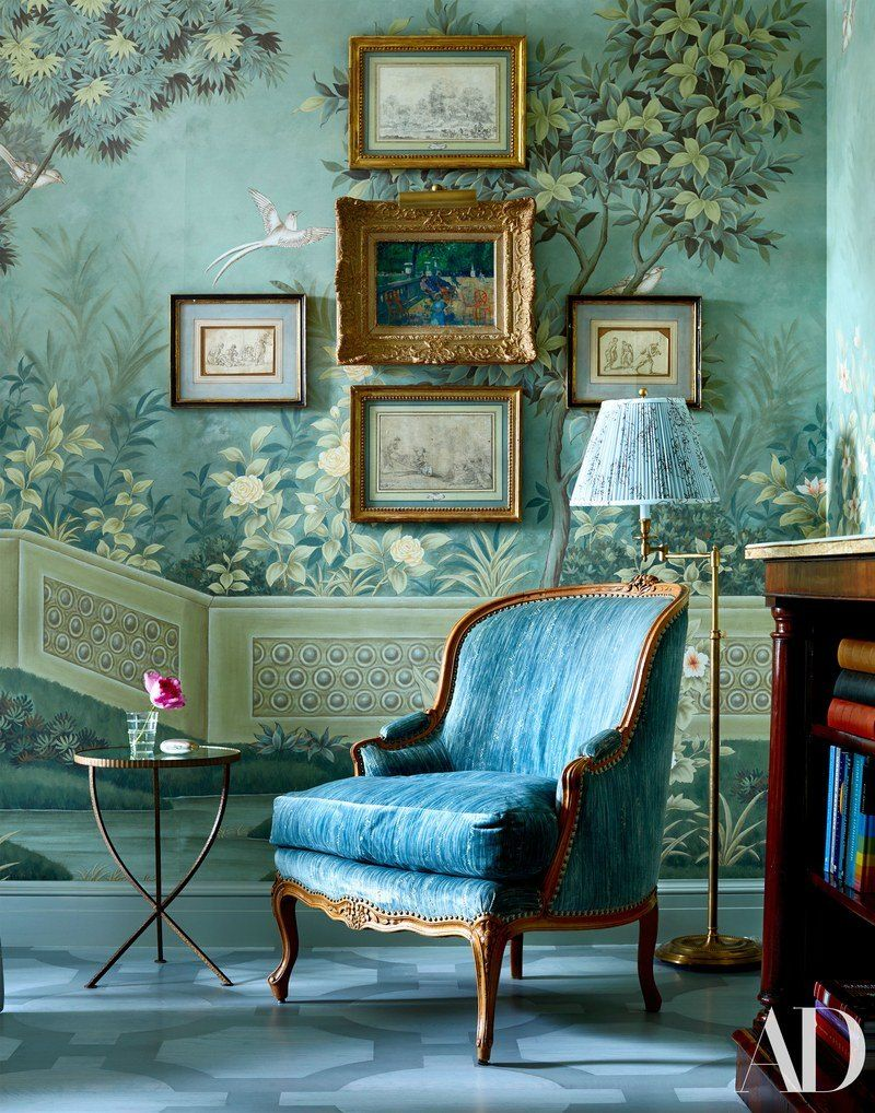 Beautiful Miles Redd vignette with fabulous colors and wallpaper French Bergere
