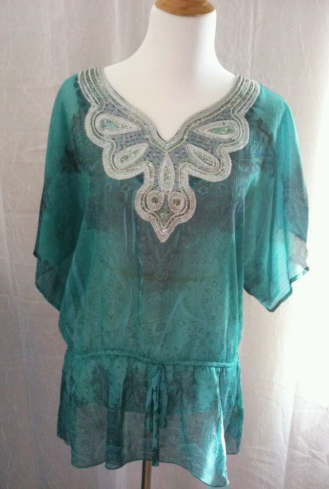 Cocomo Women's Sheer Boho Top Shirt Peplum With Tie Embellished Teal Size XL #Cocomo #Blouse