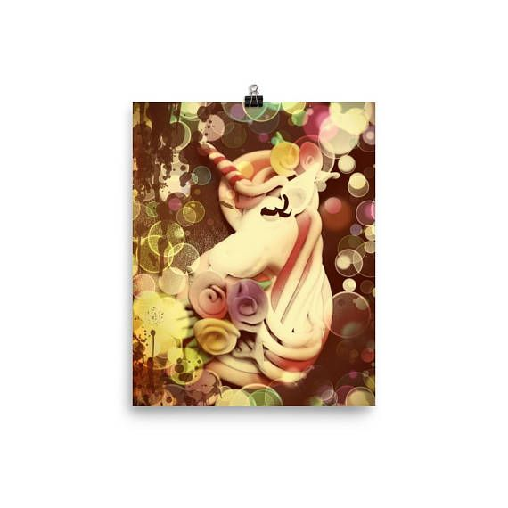 Unicorn Poster Vintage Style Photograph Wall Art Wall Hanging ...