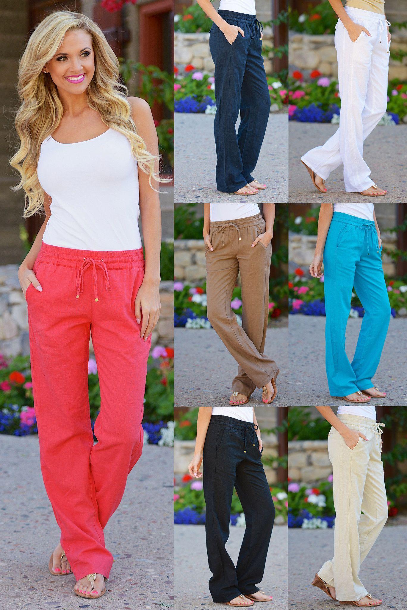 Button Linen Pants, Black | Summer, Trousers and Linen pants