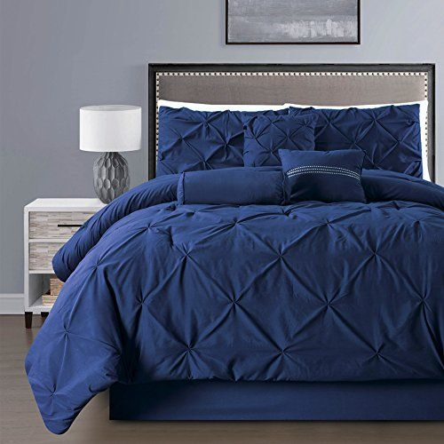 Good 7 Pieces Double Needle Stitching Pinch Pleat Solid NAVY BLUE Comforter Set  (Double)