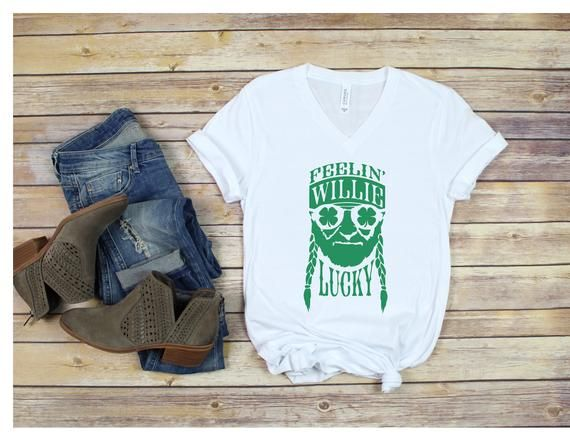 9b628506 Feeling Willie Lucky White TShirt | St Patricks Day Shirt | Willie Nelson |  Saint Patricks Day | Funny Shirt #FeelingLucky #country #drinking ...