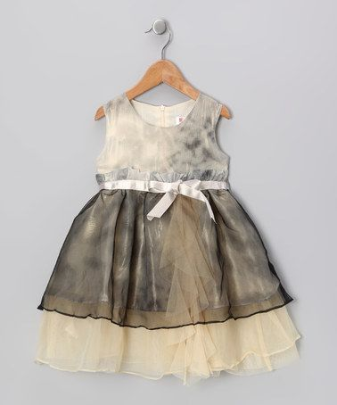 Another great find on #zulily! Gray & Yellow Sheer Sash Dress - Toddler & Girls #zulilyfinds