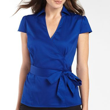 east5th® Short Sleeve Tie-Waist Wrap Shirt - jcpenney