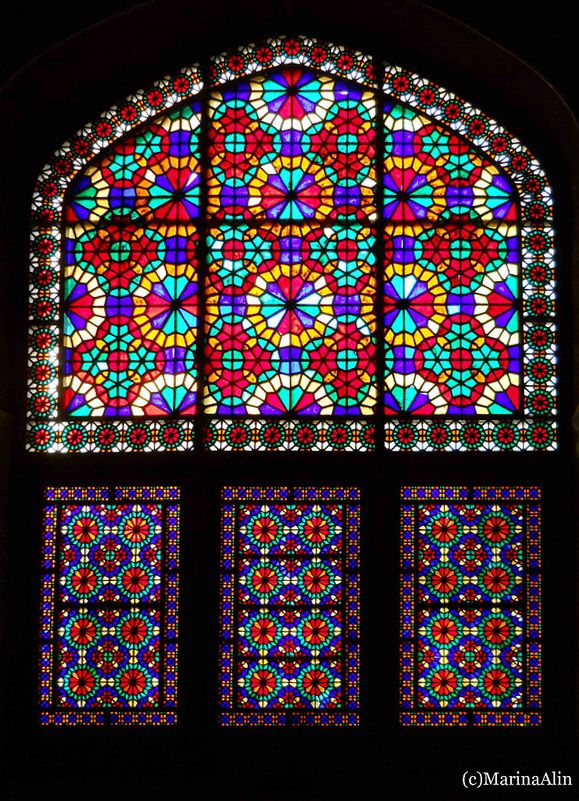 Stained glass in dolat abad garden wind tower building in for Window shapes and designs