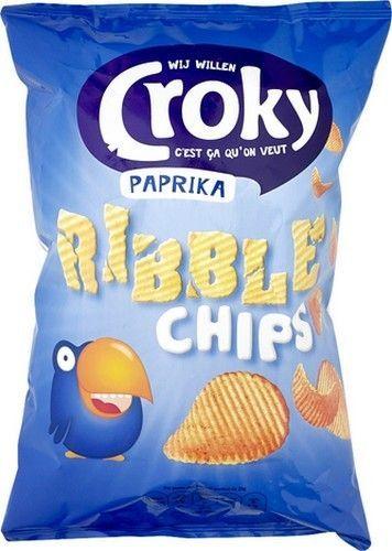 CROKY Ribble chips paprika 150gr CROKY Ribble chips paprika sont des chips de pommes de terre fabriqué avec 33,1% d'huile de tournesol. Ils sont délicieux en apéritif Offre sur www.chockies.net