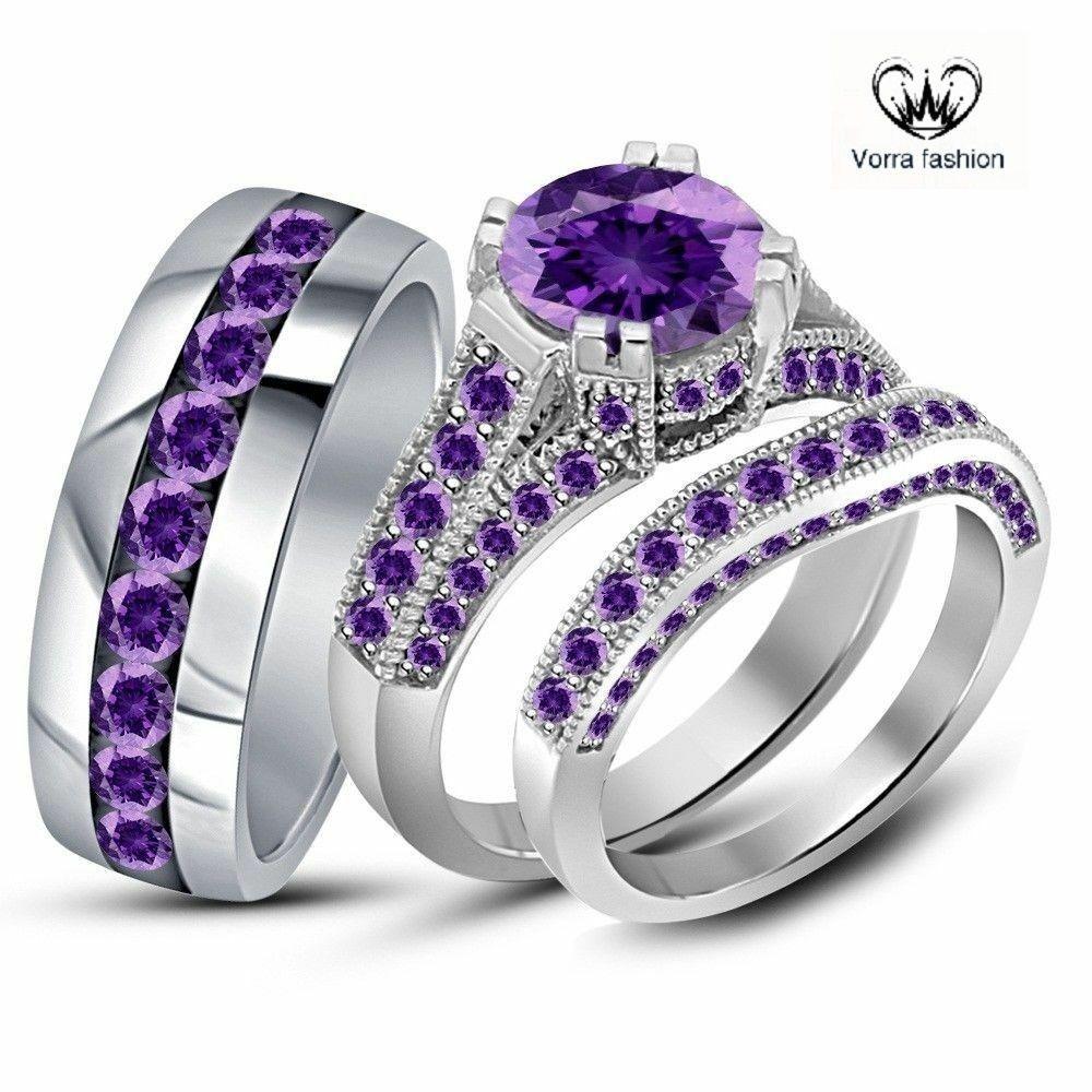 Classic 925 Sterling Silver Opal /& Purple Amethyst Wedding Band