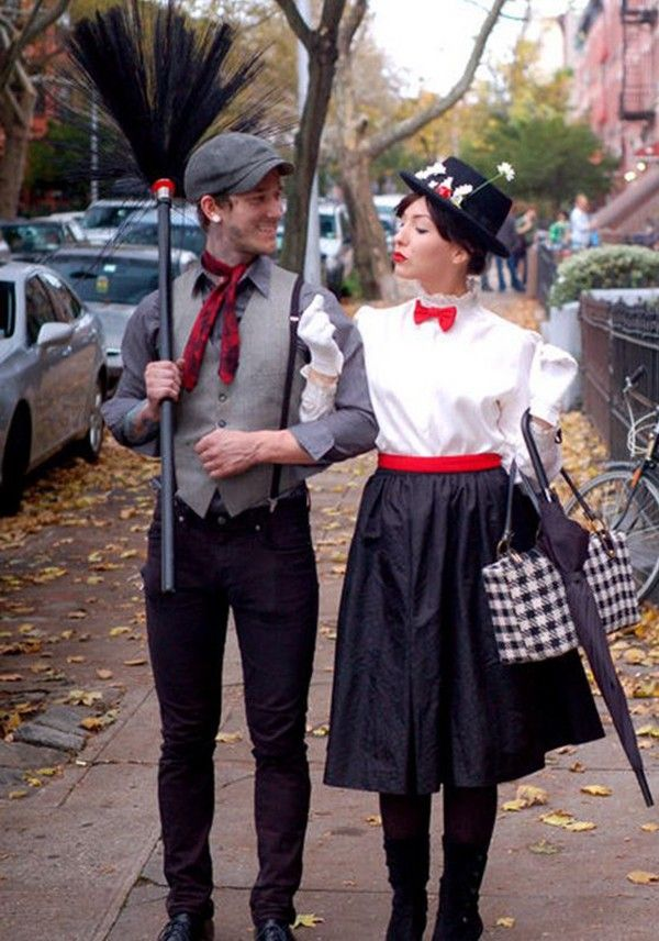 Bert and Mary Poppins: Up, up and away! Channel your inner Julie Andrews for this fun and classic Halloween couple costume. @myweddingdotcom