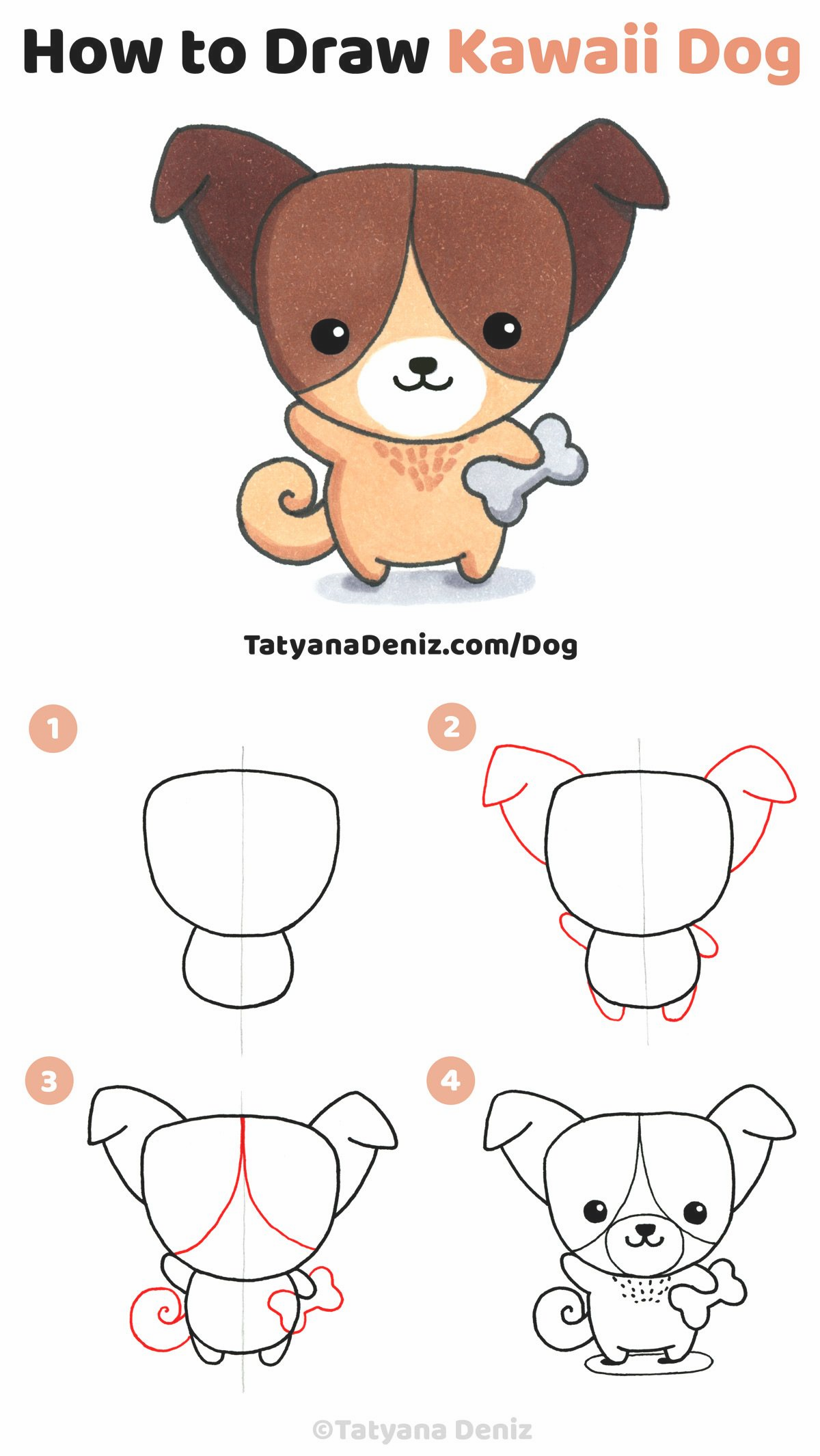 How To Attract Kawaii Canine Step By Step Tutorial Of Drawing In 2020 Dog Drawing Simple Dog Drawing Tutorial Cute Kawaii Drawings