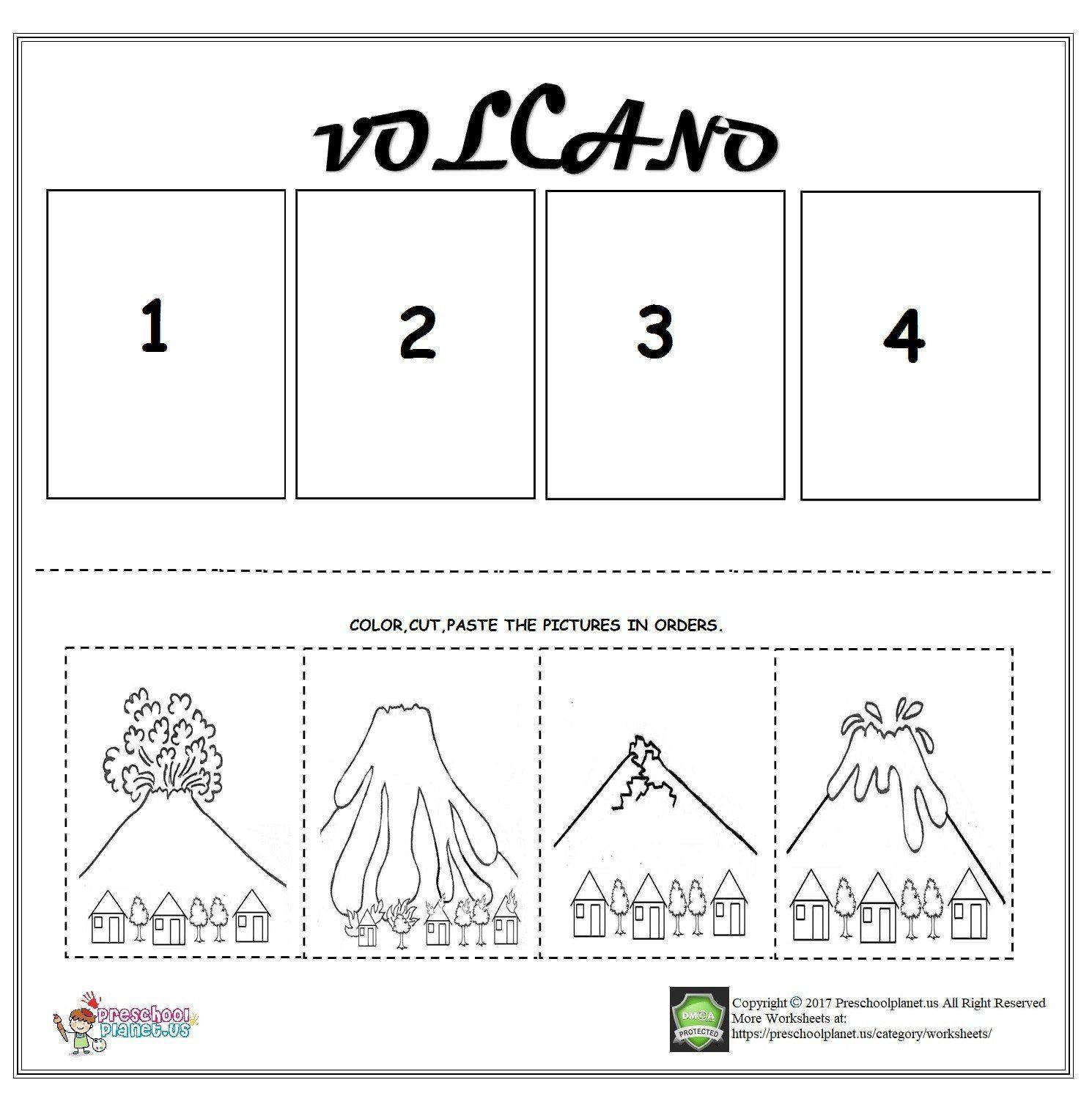 Sequence Worksheets For Kindergarten Volcano Sequencing