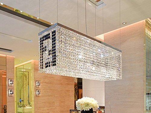 siljoy modern crystal chandelier kitchen island lighting dining room rectangular pendant lamp h16 x w38 - Rectangular Pendant Light Dining