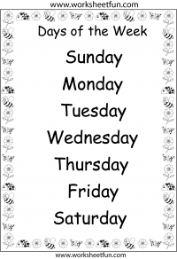 Universal image for days of the week printable worksheets