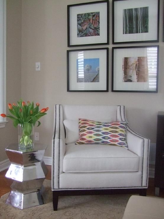 Benjamin Moore Natural Linen Custom Chair With Pewter Nail Heads F Schumacher Ikat Pillow West Elm Hexagon Side Table Ikea Frames