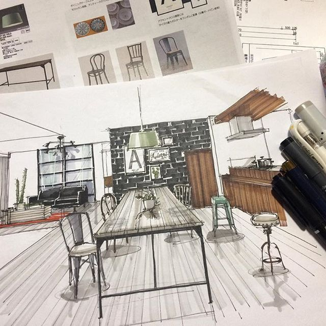 Interior Design Sketches, Drawing Interior, Interior Rendering, Perspective  Drawing, Architectural Sketches, Rendering Techniques, Copic Sketch, ...